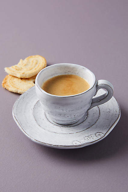 Anthropologie Glenna Espresso Cups & Saucers, Set of 4