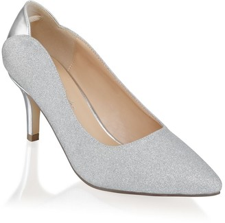 Paradox London Fabrizia Silver Wide Fit Mid Heel Court Shoes