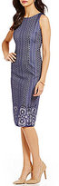 Jessica Simpson Round Neck Sleeveless Bonded Lace Midi Dress