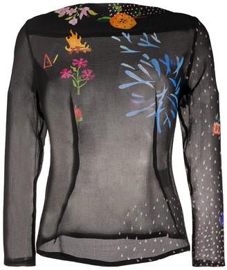 Party Night-print silk blouse