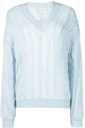 Agnona cable-knit V-neck cashmere jumper