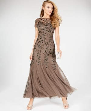 Adrianna Papell Petite Floral Beaded Gown