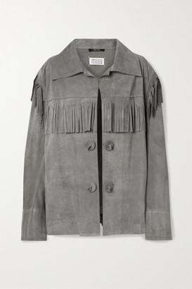 Maison Margiela Oversized Fringed Suede Jacket - Gray