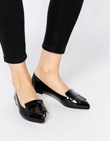 Dune Gersey Patent Fringed Flat Shoes