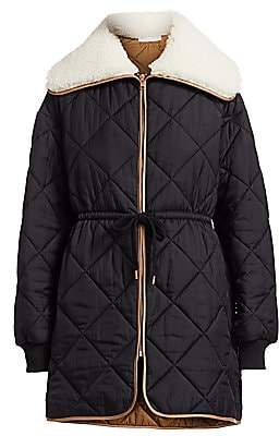 See by Chloe Women's Quilted Faux Shearling Collar Parka Coat