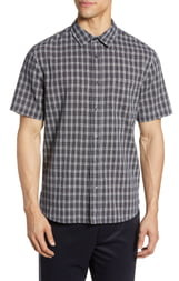 Vince Classic Fit Mini Plaid Short Sleeve Button-Up Shirt