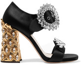 Miu Miu Crystal-embellished Satin Sandals - Black