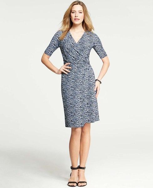 Ann Taylor Petite Flecked Print Ruched Wrap Dress