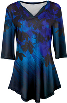 Azalea Blue & Black Abstract V-Neck Tunic - Plus Too