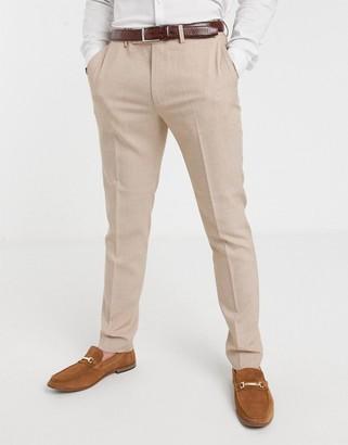 ASOS DESIGN wedding skinny suit trousers in crosshatch in camel