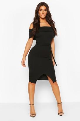 boohoo Off The Shoulder Fold Over Split Midi Bodycon Dress