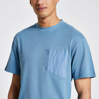 River Island Pastel Tech blue nylon pocket T-shirt