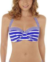 Lepel Riviera Blue and White Moulded Halter Bandeau Bikini Top 160061