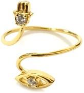 Charlene K 14K Gold Plated Sterling Silver Hamsa & Evil Eye Wrap Ring