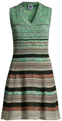 M Missoni Striped Crochet Glitter-Knit Sleeveless Dress