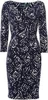 Lauren Ralph Lauren Ruched printed 3/4 sleeve dress