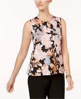 Kasper Floral-Print Jewel-Neck Shell, Regular & Petite