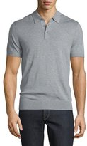 Michael Kors Cotton/Silk Short-Sleeve Polo Shirt, Heather Gray