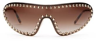 Prada Studded Shield Metal Sunglasses - Womens - Tortoiseshell