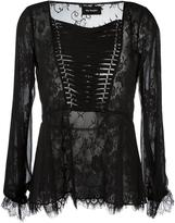 The Kooples lace-up lace blouse