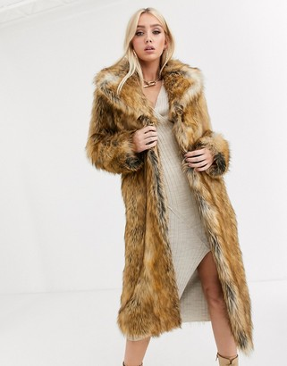 Asos Design DESIGN luxe vintage inspired faux fur maxi coat in brown