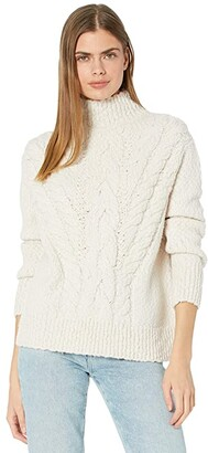 Vince Rising Cable Turtleneck (Cream) Women's Clothing