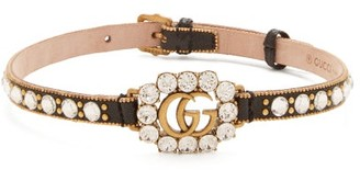 Gucci Gg Crystal-embellished Leather Choker - Womens - Black Gold