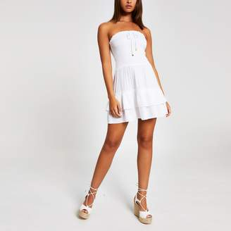 River Island Womens White bandeau mini beach dress