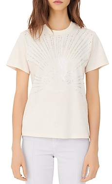 Maje Telly Cotton Rhinestone Embellished Tee