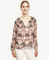 Ann Taylor Floral Tie Front Ruffle Neck Blouse