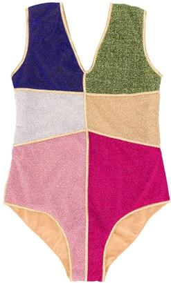 Oseree Kids colour-blocked V-neck swimsuit