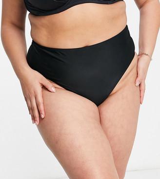 Wolf & Whistle Curve Exclusive high waist bikini bottom in black