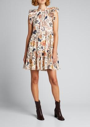 Ulla Johnson Eden Floral Flutter-Sleeve Short Dress