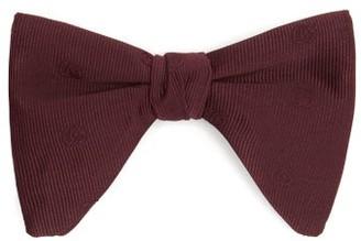 Gucci Logo-jacquard Silk-faille Bow Tie - Burgundy