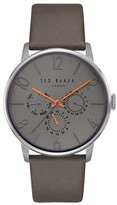 Ted Baker Men's James Multifunction Leather Strap Watch, 42Mm