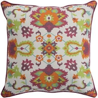 "Strope Cotton Floral Throw Pillow Cover Winston Porter Size: 18"" H x 18"" W x 3.5"" D, Color: Bright Orange"