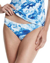 Seafolly Caribbean Ink Reversible Hipster Swim Bottom, Blue/White