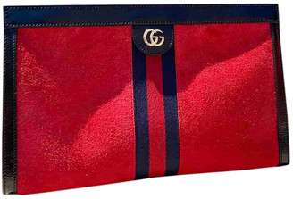 Gucci Ophidia Red Suede Clutch bags