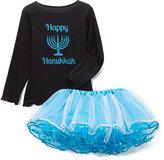 Beary Basics Black 'Happy Hanukkah' Tee & Teal Tutu - Toddler & Girls