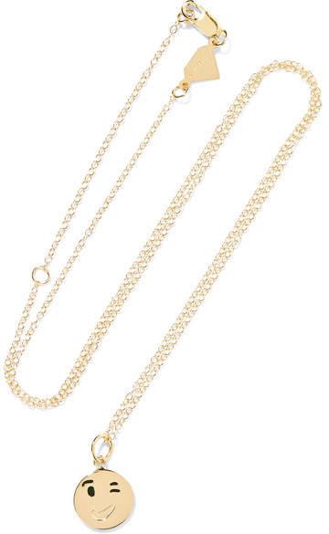 Alison Lou Small Wink Face Enameled 14-karat Gold Necklace