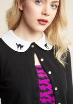 MCS1132 Spooky and sweet - that's how you prefer your festive style, and that's exactly what you'll get with this black cardigan! A fun pick from our ModCloth namesake label, this cropped layer adds bewitching allure to any look through its kitty-embroidered Pete