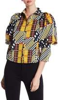 Gracia Mutton Sleeve Patterned Button Down Shirt