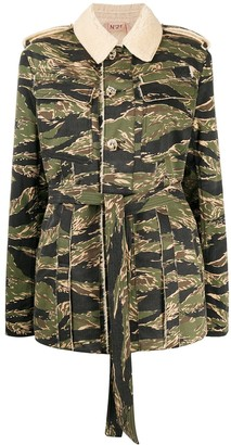 No.21 Camouflage-Print Buttoned Jacket