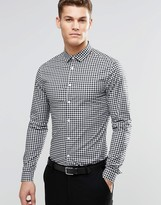 Asos Skinny Gingham Check Shirt In Black