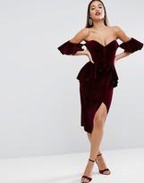Asos RED CARPET Ruffle Sleeve Velvet Midi Dress