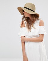 French Connection Wide Brimmed Natural Fedora Hat