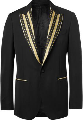 Versace Black Slim-Fit Contrast-Trimmed Virgin Wool Blazer