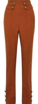 Oscar de la Renta Button-detailed Wool-blend Twill Straight-leg Pants