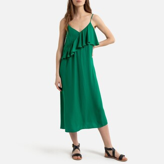 La Redoute Collections Ruffled Midaxi Cami Dress with Shoestring Straps