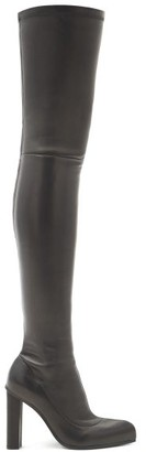 Alexander McQueen Point-toe Leather Over-the-knee Boots - Black